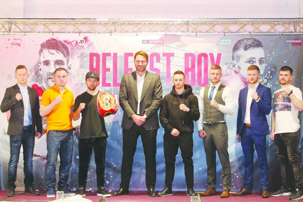 Ryan Burnett and Lee Haskins with promoter, Eddie Hearn and a number of local fighters who have been included on the June 10 undercard\nPicture by Jonathan Porter/PressEye.com