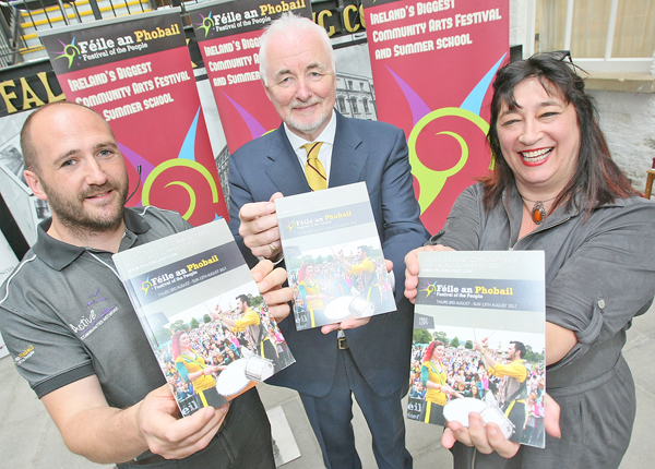 IT'S BACK:Kevin Gamble, Féile an Phobail, Terence Brannigan, Chairman of Tourism Northern Ireland,  and Dr Katy Radford of the Arts Council Northern Ireland