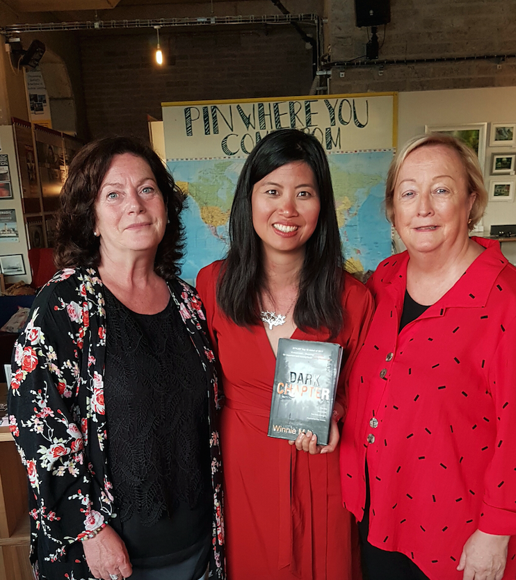 IN GOOD COMPANY: Winnie M Li with Geraldine McAteer and Monica McWilliams during a visit to Belfast to launch her novel; below, Winnie