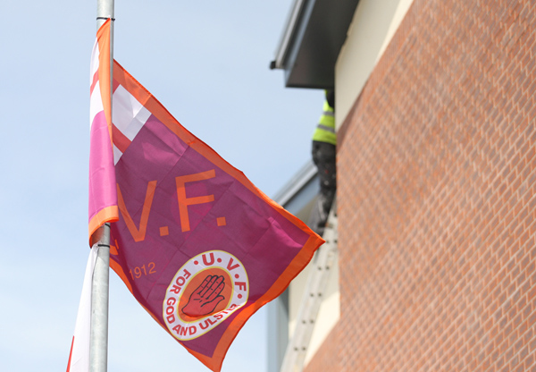 The UVF and union flags that were erected in the mixed area in recent days