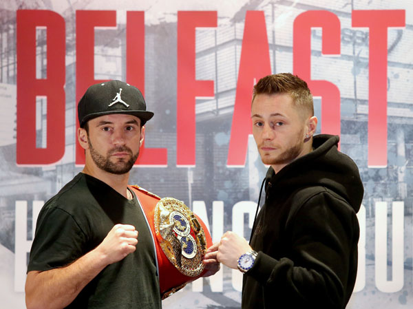 Champion, Lee Haskins (left) is in no mood to relinquish his title against Ryan Burnett on Saturday