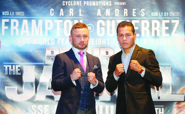 Carl Frampton and Andres Gutierrez came face-to-face at the Europa Hotel on Wednesday