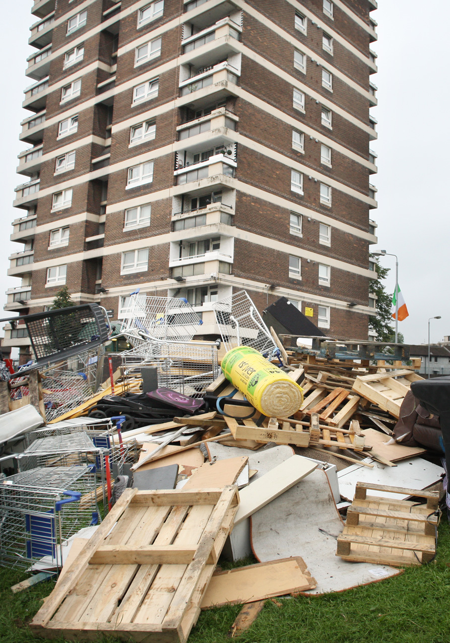 HERE WE GO AGAIN: The unsightly mess at New Lodge flats as bonfire builders began gathering materials in preparation for the planned blaze on August 9