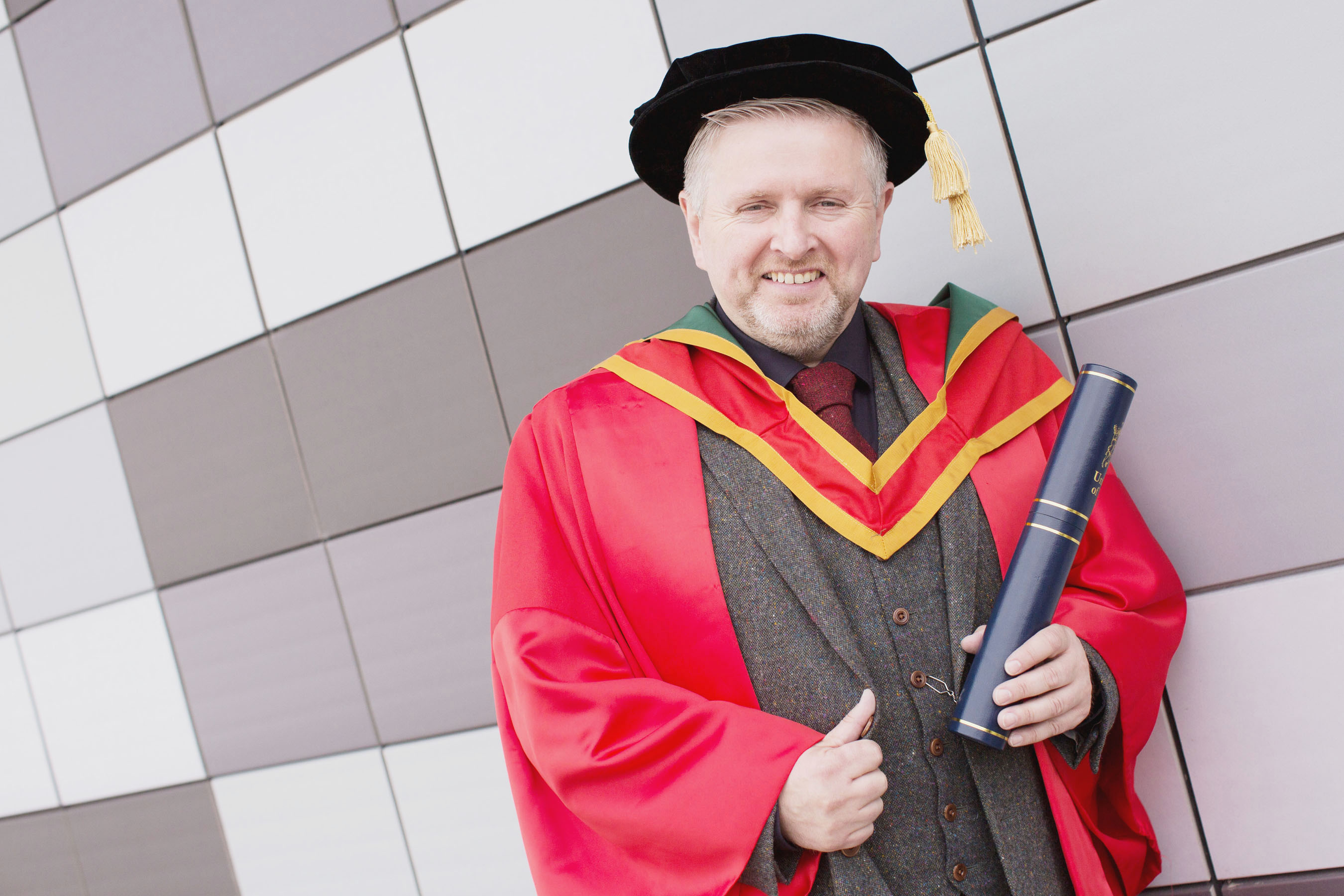 Passionist priest, Fr Gary Donegan, received the honorary degree of Doctor of Laws (LLD) for his outstanding community work within Northern Ireland. (Photo: Nigel McDowell/Ulster University)