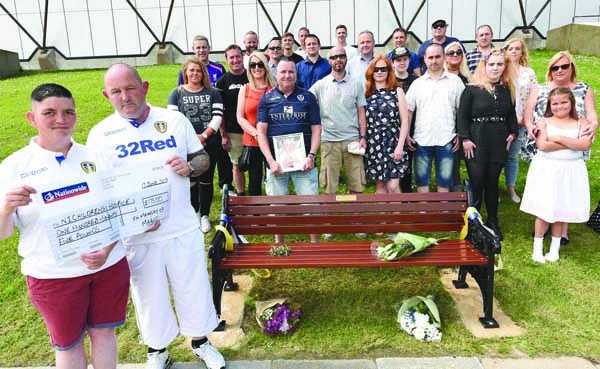 MEMORIES: Sarah and Lyndon Hemingway with friends of Mark Hemingway at the Valley Centre bench unveiling in memory of their brother Mark