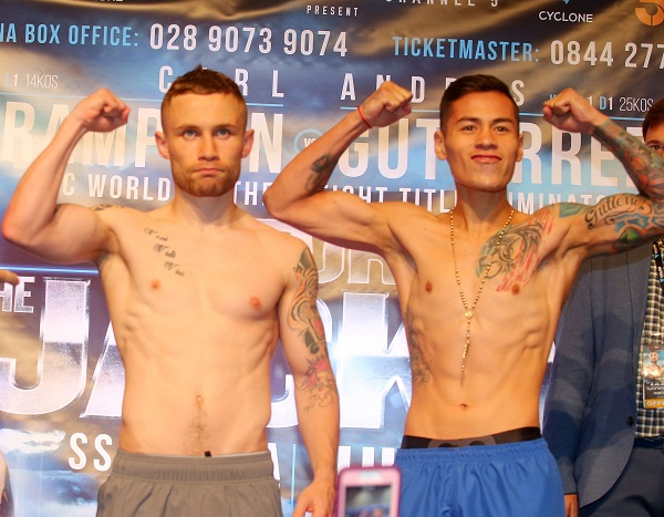Carl Frampton and Andres Gutierrez after today\'s weigh-in at the Europa Hotel