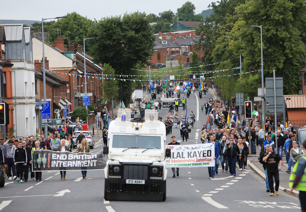 This year's nti-internment parade will return to North Belfast but is to be restricted 0708JC16