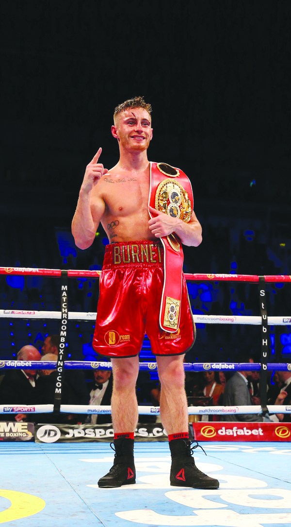 Ryan Burnett celebrates his IBF bantamweight title win against Lee Haskins in June. The Newington man will be hoping to add the WBA strap when he takes on former sparring partner, Zhanat Zhakiyanov at the SSE Arena on October 21