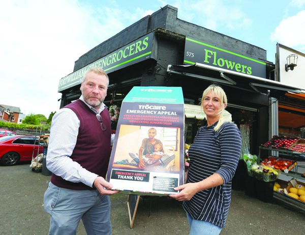 APPEAL: David O\'Hare from Trócaire and Kelly O\'Hare at Fortwilliam Greengrocers whose customers contributed to the charity\'s East Africa appeal