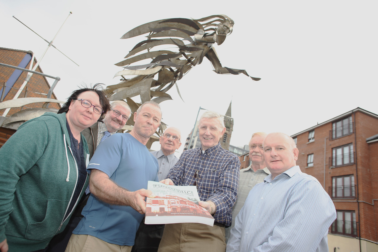 Members of the SHIP Committee (Shared History Interpretive Project). present Robbie Hunter with 'Republic: Road to the Rising' book- collection of James Connolly's writings