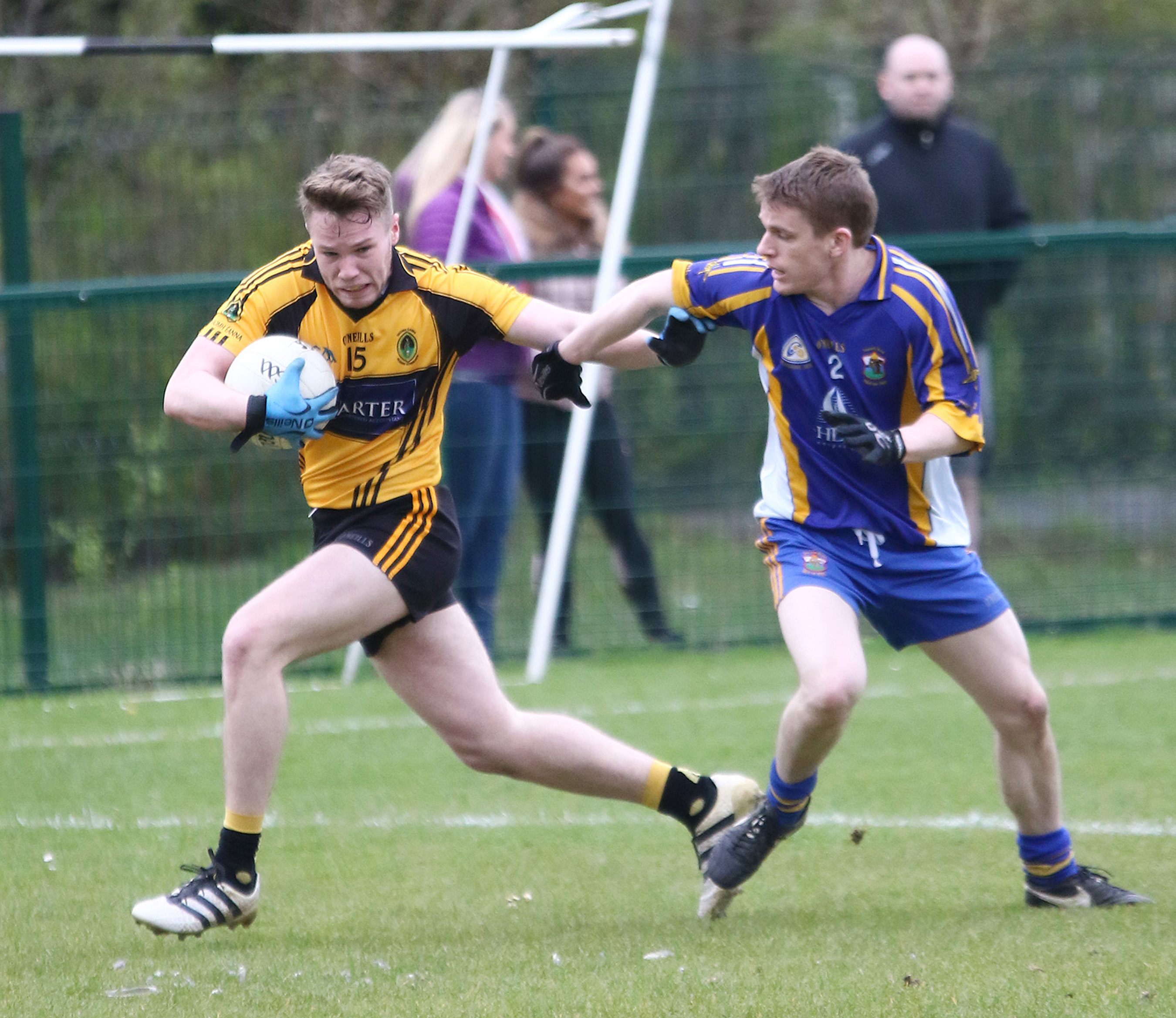 St Enda's attacker Ruairi Scott, pictured in action against St Brigid's earlier this year, will be one of the key players for the Glengormley men when they take on Michael Davitt's on Saturday