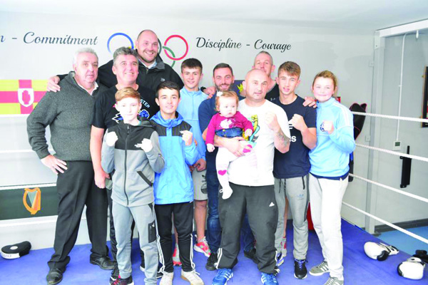 Tyson Fury with St Paul's coaches and boxers on Monday (Pic by Hugh O'Halloran/Belfast Boxers)