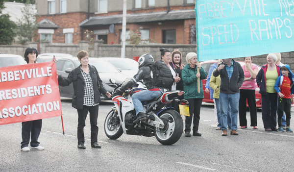 Abbeyville Residents Association hold a protest against the decision by the Department for Infrastructure (Dfl) to refuse the installation of speed bumps in the area
