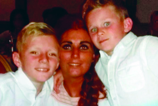 Louise with her sons Tom and Martin, aged 10 and seven-years-old