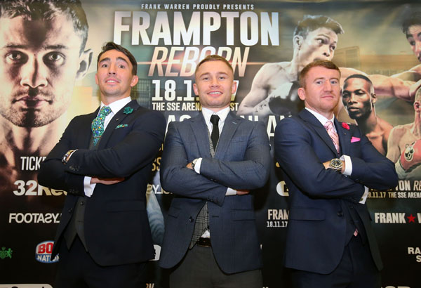 Carl Frampton is joined by Jamie Conlan and Paddy Barnes who will also be in action on November 18 at the SSE Arena\nPicture by Jonathan Porter/PressEye.com
