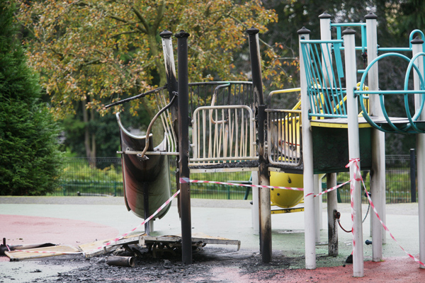 WANTON DESTRUCTION: Tens of thousands of pounds was caused to the children's play park in the Falls Park at the weekend