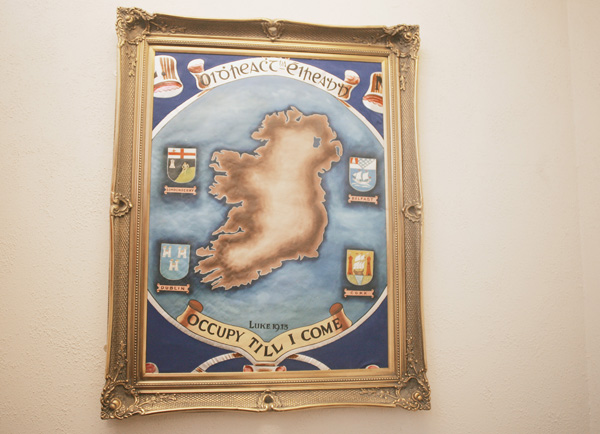 IDENTITY CRISIS:This painting of Ireland in the Orange Hall in Clifton Street is headed Oidhreacht na héireann, which translates as Ireland's Heritage