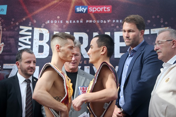 Ryan Burnett and Zhanat Zhakiyanov go head-to-head after today\'s weigh in. \n\nPicture by Jonathan Porter/Inpho