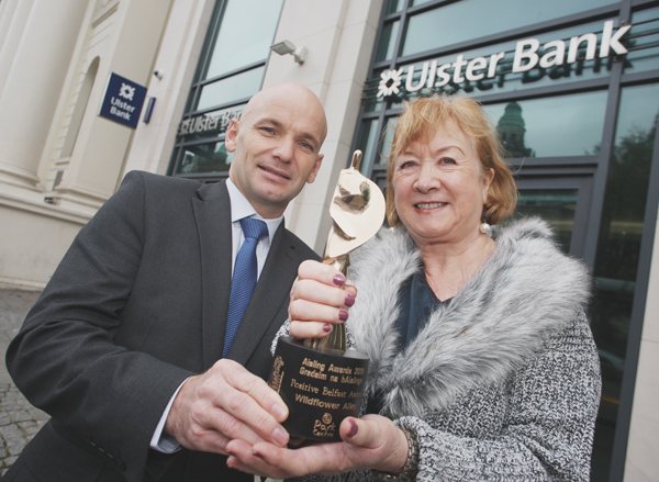 Sean Murphy, Managing Director, Retail Banking NI Ulster Bank, with Brid Ruddy, Wildflower Alley, winners of the 2016 Positive Belfast Award