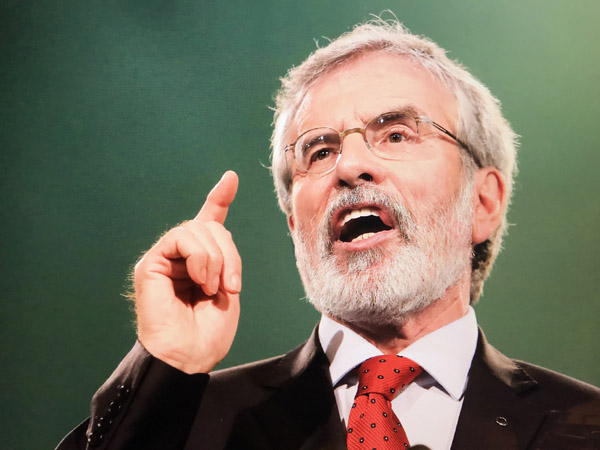 Gerry Adams speaking at Sinn Féin's Ard Fheis in the RDS on Saturday night – Picture by Jim Corr