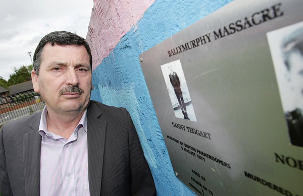DISRESPECT:John Teggart at the spot where his father Daniel Teggart was shot dead by the British Army
