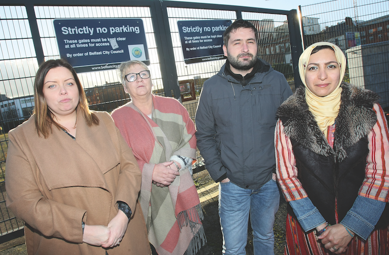 RESOLUTE: Councillor Deirdre Hargey, local resident Bernie Davison, with Pádraig Ó Meiscill and Azadeh Sobout of the Market Development Association at the land near the Gasworks\n\n