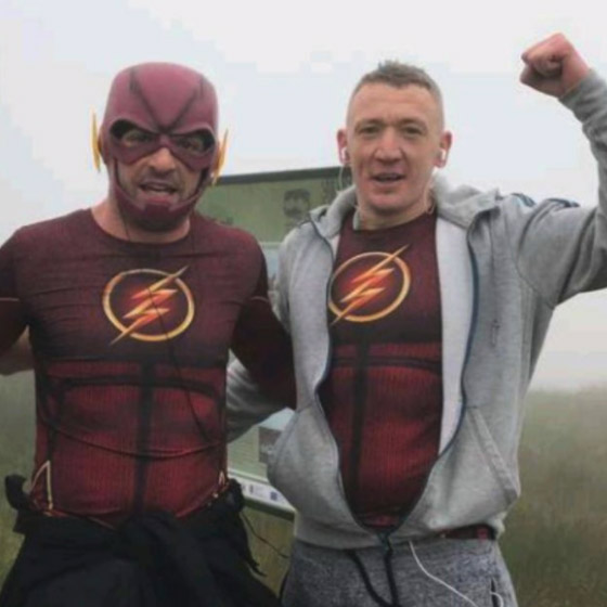 PEAK ACHIEVEMENT: Kevin and Michael in their Flash costumes