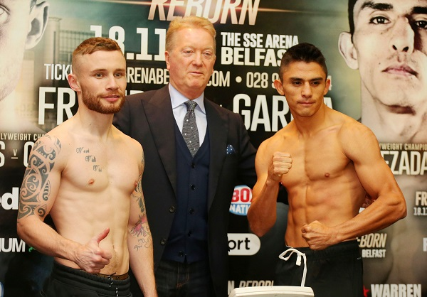 Carl Frampton, promoter Frank Warren and Horacio Garcia at today\'s weigh-in\n\nPicture by Jonathan Porter/PressEye.com