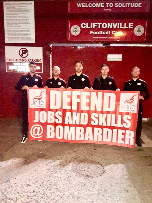 Cliftonville FC have supported Bombardier workers amid the ongoing trade row with US airline Boeing