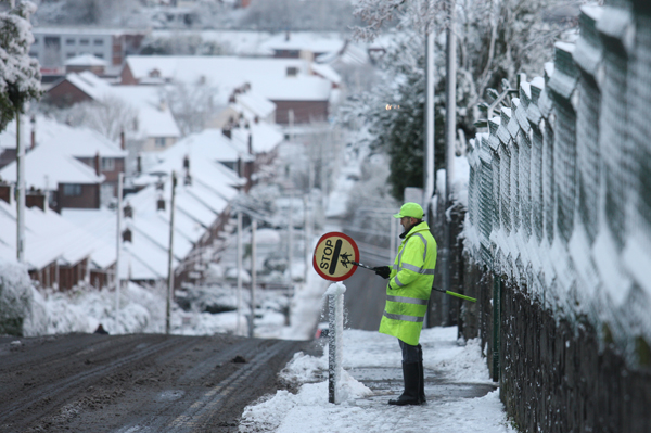Icy conditions at North Belfast's Carnmoney Road
