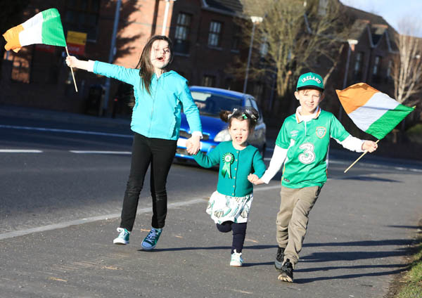 Ruby McManus, Lola Symington and Lucas Corr enjoying St Patrick\'s Day on the Stewartstown Road