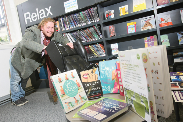 Falls Road Library manager Andrew Lawther opens an invitation to everyone as the Falls Library is set to host its first ever chair yoga class on Friday 6th April.