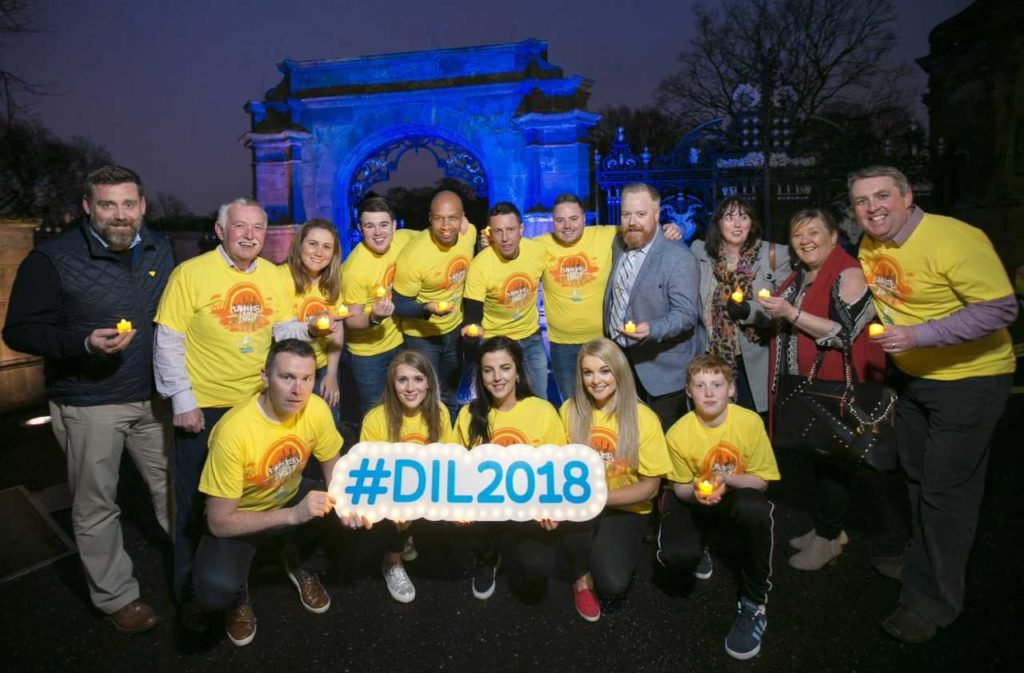 TOGETHER:Hannahstown Darkness Into Light committee members join Jamie-Lee O'Donnell from Derry Girls, sporting legend Oisin McConville, Q Radio presenters, Annette Kelly from Little Penny Thoughts and mental health nurse and blogger, Judy from French Grey Lifestyle, Kevin Caldwell of Electric Ireland, who are urging the people to walk from Darkness Into Light