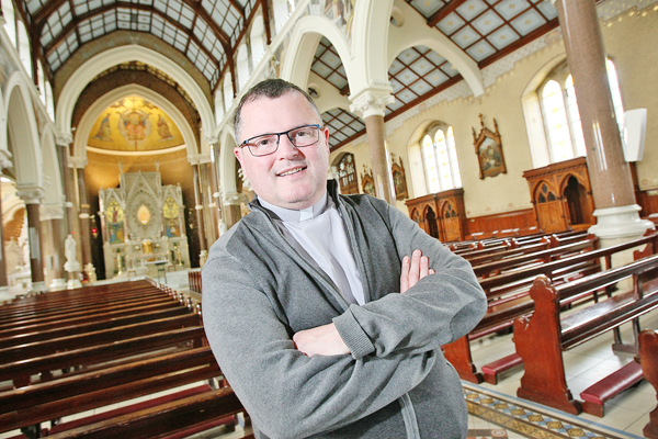 Father Noel Kehoe discussing the new Clonard App