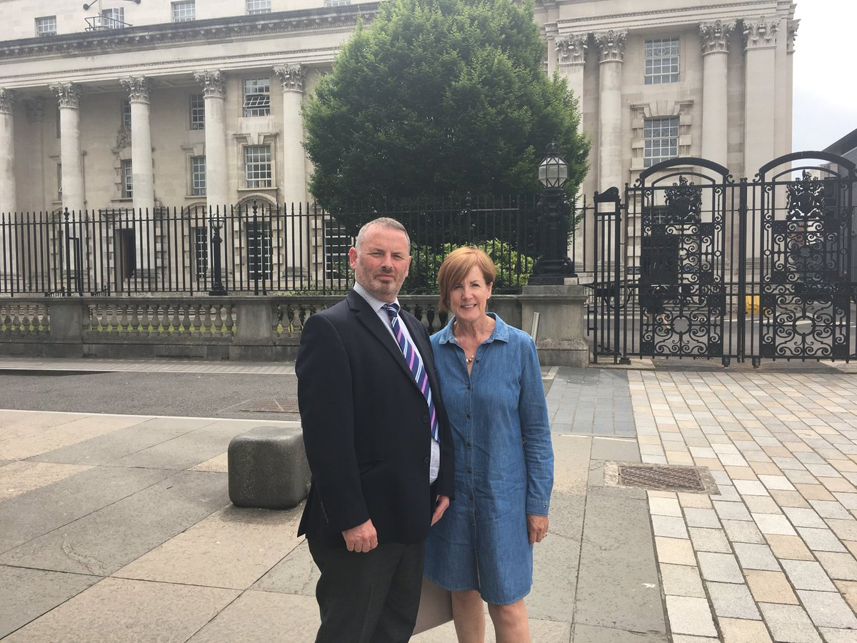 SDLP Councillor Noreen McClelland with Colin Buick from the No-Arc-21 group outside Belfast Court of Appeal