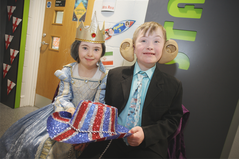 Word Cup display at St. Gerard's on the Blacks Road, Kaela Winchester as the Queen of England and Thomas Kee as Prince Charles