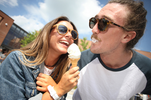 Hamish Deans and Teresa Cullen cool down with an ice cream at the Thorndale Duncairn Kinnaird family fun day in Girdwood