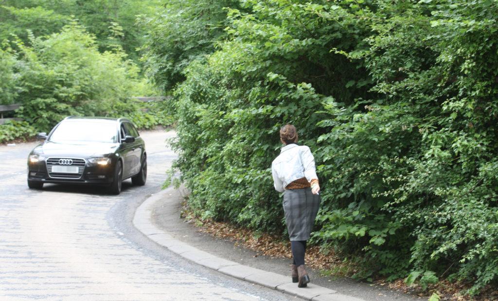 DANGER ZONE: Our Ciara Quinn negotiates the hairpin bend footpath near Colin Glen forest park