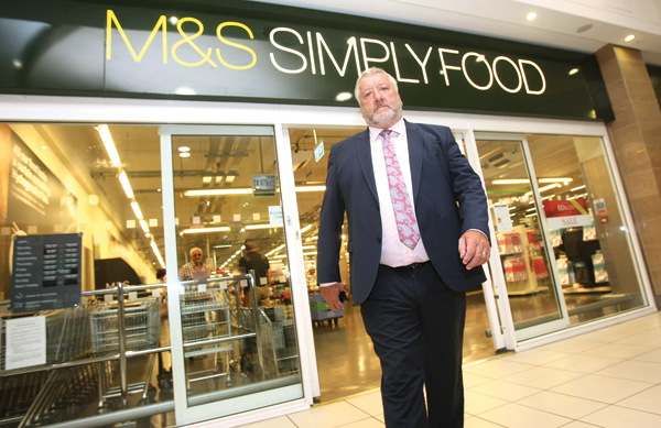 Pat Catney at the Bow Street Mall M&S foodstore