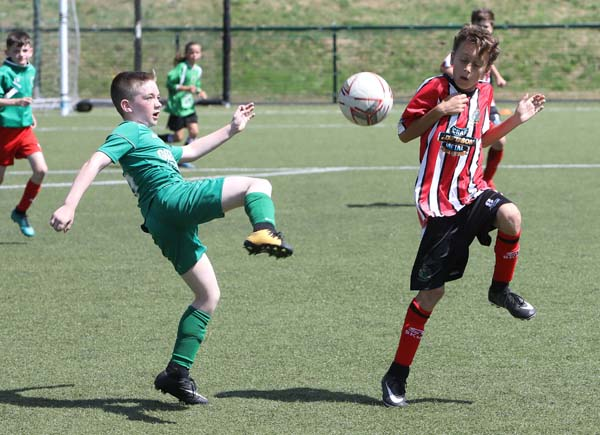 Action from Altringham v St Patrick's in the Neil Taggart Memorial Football Tournament