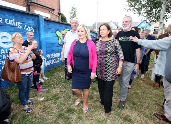 Solidarity protest for Gerry Adams and Bobby Storey. pictured: Michelle O'Neill and Mary Lou McDonald with Gerry Adams and Bobby Storey