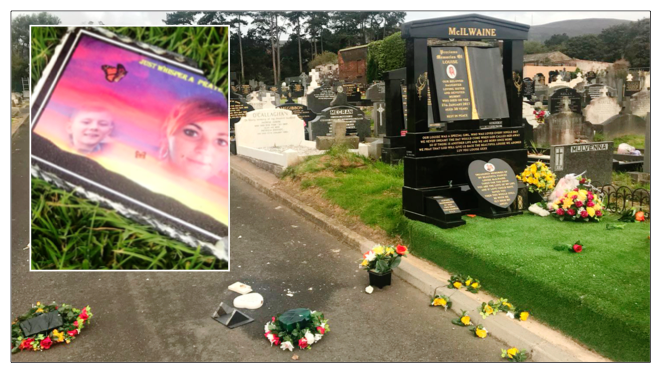 DISGRACE: Louise McIlwaine's grave that was targeted by vandals; left, a slate plaque that was smashed