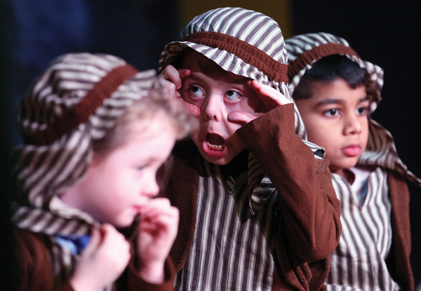 The Star of Bethlehem is too bright for this shepherd at St Teresa's Primary School P2 nativity play