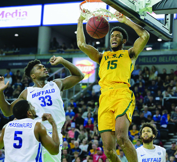 A slam dunk from the Belfast Basketball Classic Finals Day at the SSE – the Buffalo Bulls vs San Francisco Dons