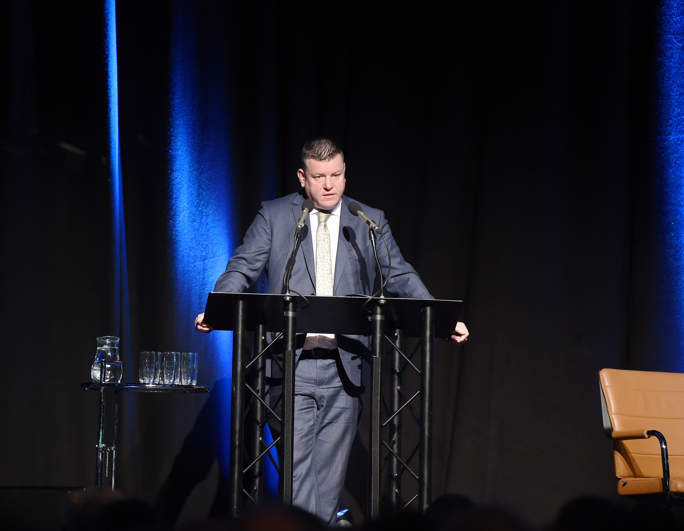 Solicitor Niall Murphy speaking to the 2,000 strong audience at the Waterfront Hall