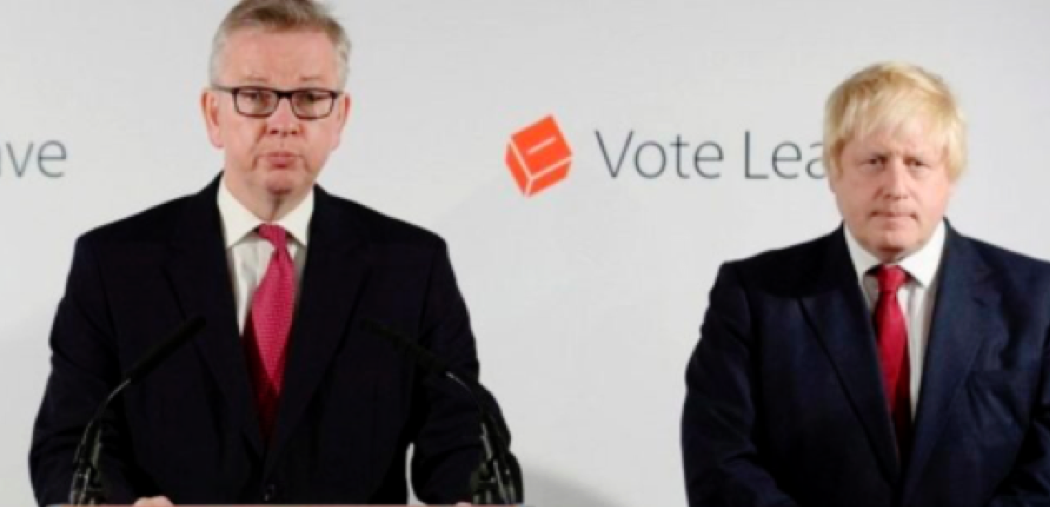 OUT: Michael Gove and Boris Johnson look stunned, sorry... delighted after the Brexit referendum result was announced