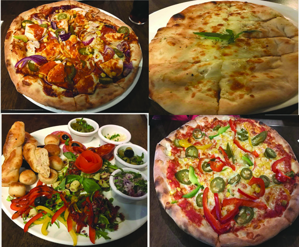 BBQ Pizza, Garlic Bread, Italian Antipasti and 'Make your own' vegetarian pizza