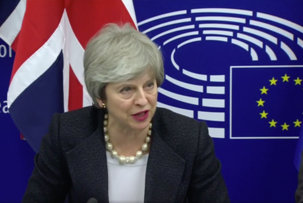 Theresa May speaking in Strasbourg on Monday night