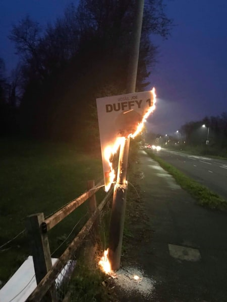 One of the posters on fire in the Cutts area