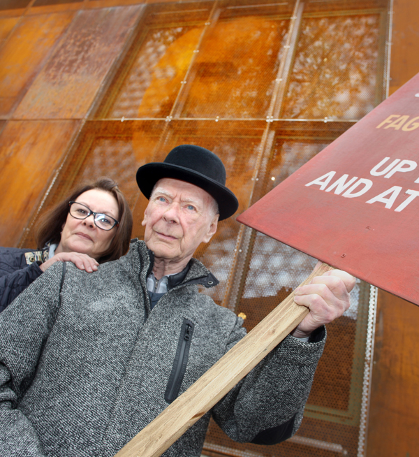 Looking into the past at the new James Connolly Centre are Jeanette Reid and Desmond Cassidy, direct descendants of Winifred Carney, James Connolly's secretary, who was with him in the GPO